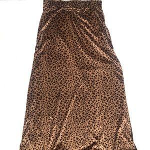 Vintage Blue Velvet Cheetah Print Maxi Skirt